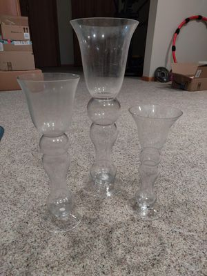 Set of 3 tall clear decorative vases for Sale in Inverness, IL