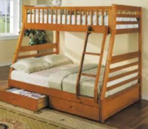 BUNK BED-OAK TWIN OVER FULL WITH DRAWERS. for Sale in Tulsa, OK