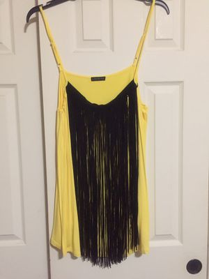Yellow tank top with black fringe (Lane Bryant size 18) worn once. for Sale in Austin, TX