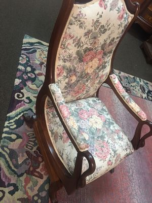 Antique real wood Spring rocker chair with upholstered arms and seats for Sale in Durham, NC