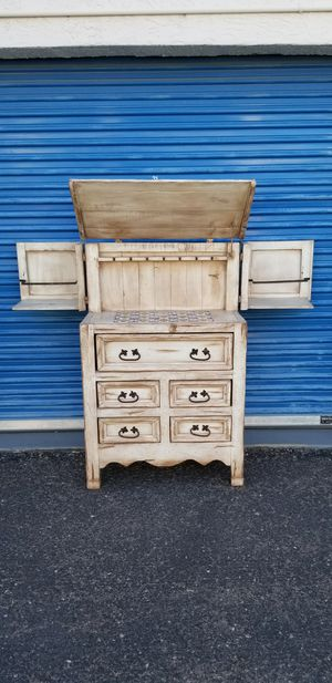 Rustic southwest chest of drawers / dresser that opens up into a wine bar / liquor bar cabinet. for Sale in Phoenix, AZ