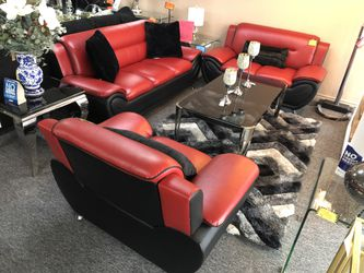 Black AND Red Leather Sofa Loveseat AND Chair 58S for Sale in Irving,  TX