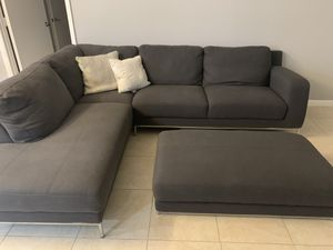 Gray Sectional with Ottoman for Sale in Miami, FL