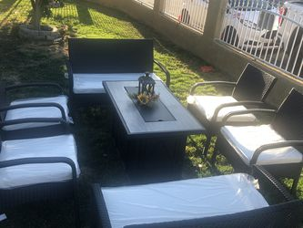 9 Piece Wicker Patio Set With Fire Pit for Sale in Riverside,  CA