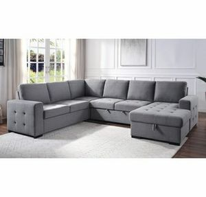 Grey convertible pullout sofa bed couch sectional for Sale in Downey, CA