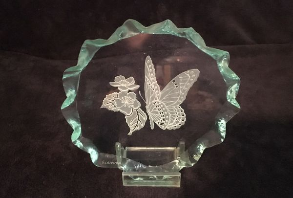 Etched and Frosted Butterfly and Flower Glass Piece ~ artist signed 'SCRIVNER'