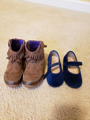 Toddler Size 8 side zip boots and blue suede dress shoes for Sale in Frederick, MD