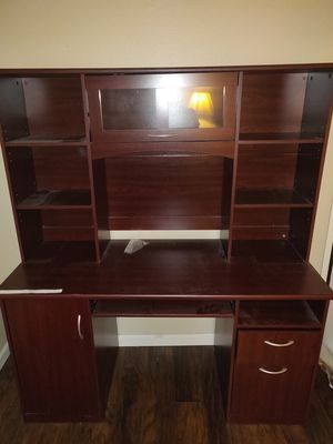 Cherry wood computer desk / table with shelf stand for Sale in Orange, CA