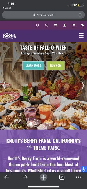 Knott's Berry Farm Taste of Fall-O-Ween Tickets for Sale in Santa Fe Springs, CA