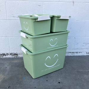 Green Smiley Face Storage Containers Set of 4 With Handles Organizer Bin Latch for Sale in El Monte, CA