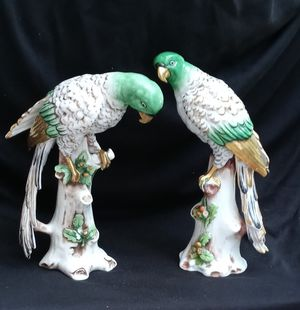 "Pair of parrots made by Samson Porcelain Factory in 1892, 8""tall, in good condition. for Sale in Long Beach, CA"