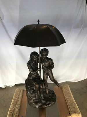 Bronze Boy and Girl under Umbrella Statue for Sale in Woodbridge, VA