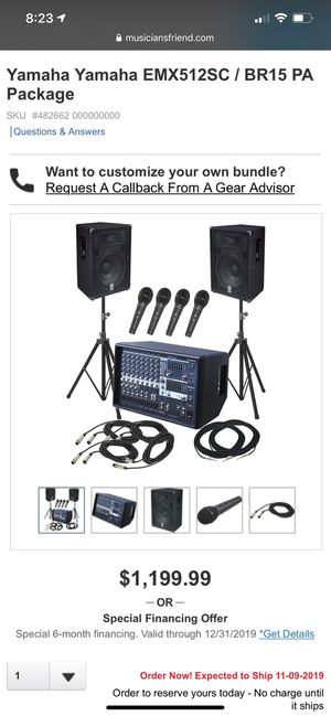 Yamaha Yamaha EMX512SC / BR15 PA Package for Sale in Renton, WA