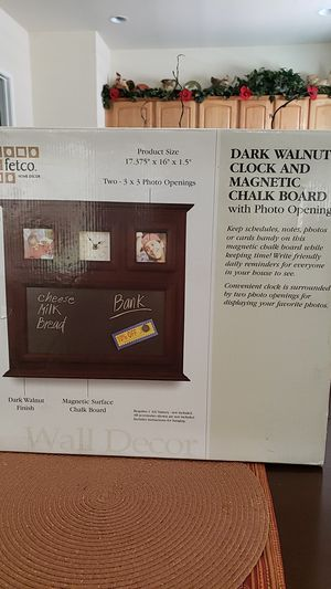 Dark walnut clock and magnetic chalk board with picture frames,Fetco home Decor for Sale in Beaumont, CA