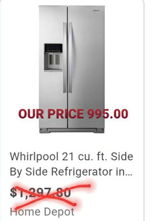 NEW whirlpool side by side stainless counter depth Refrigerator for Sale in St. Petersburg, FL