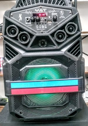 YAT SPEAKER. BLUETOOTH./8 INCH./ MP3 MUSIC 🎶 / USB / FM.RADIO / AUX- IN / MICROPHONE INC. / CONTROL REMOTE. /BATTERY RECHARGEABLE. for Sale in Moreno Valley, CA