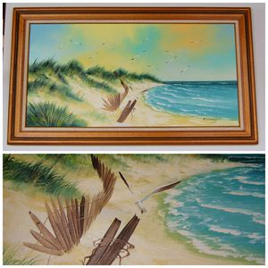 Vintage Extra Large Sunny Beach Oil Canvas Painting for Sale in Seattle, WA