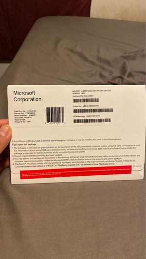 Windows 10 Pro Operating System DVD(unopened) for Sale in Pasadena, TX