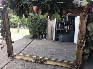 Big wall mirror very good condition gold around for Sale in Irving, TX
