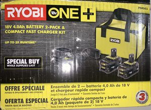 RYOBI 18-Volt ONE+ Lithium-Ion High Capacity 4.0 Ah Battery (2-Pack) Starter Kit with Charger and Bag for Sale in Glendora, CA