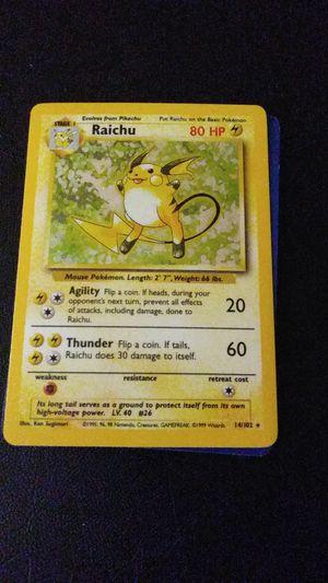 Pokemon Card - Raichu 14/102 Base Set Unlimited Holo Rare Shadowless for Sale in Phoenix, AZ