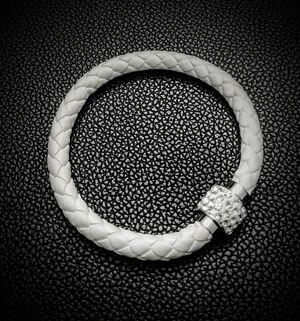Leather Energy & Balance Bracelet - White for Sale in Scottsdale, AZ