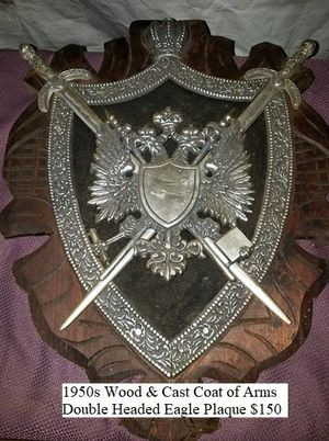 Wood & Cast Coat of Arms Double Headed Eagle Plaque $150 for Sale in Dresden, OH