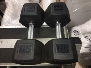 65lbs Tag Rubber Coated Dumbbells for Sale in Addison, TX