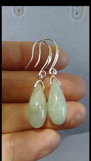 "Pretty charming good luck genuine green Vyrma jade jadeist silver hooks earings 1.5"" for Sale in Richmond, CA"
