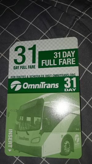 31 Day full fare bus pass for Sale in Highland, CA