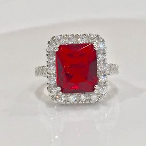 White gold plated ruby ring sz 7 for Sale in Silver Spring, MD