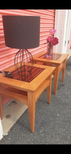 TWO SOLID WOOD END TABLES WITH GLASS ON TOP GOO CONDITION for Sale in Fairfax, VA