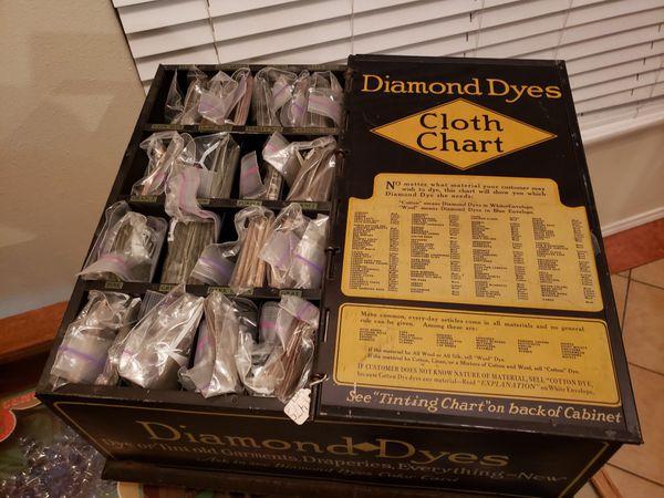 Antique Metal tin Dyes store cabinet Vintage