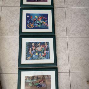 Four Framed Little Mermaid Litógraphs for Sale in Miami, FL