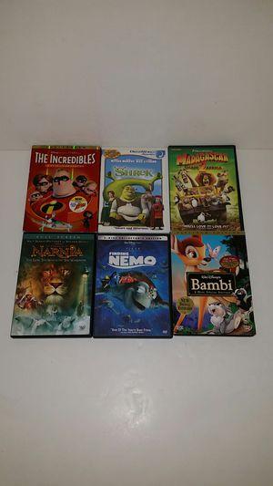6 CHILDREN'S DVDs (DISNEY & DREAMWORKS) including PLATINUM EDITION 2-Disc BAMBI for Sale in Anaheim, CA