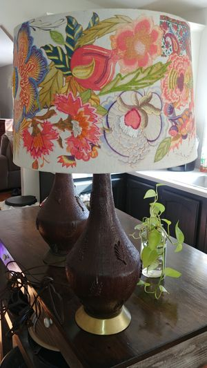 2-Old lamps with one cute lamp shade for Sale in Union, WA