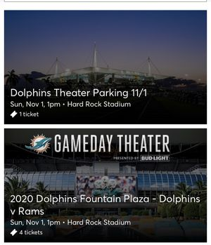 4 Dolphins tickets for dolphin fountain plaza for Sale in Lauderhill, FL