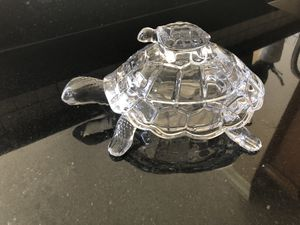 """Original Bohemian Czech Republic Crystal Turtle candy, Chocolate jar,dish 11"""",Mother and baby turtle for Sale in Aurora, IL"""