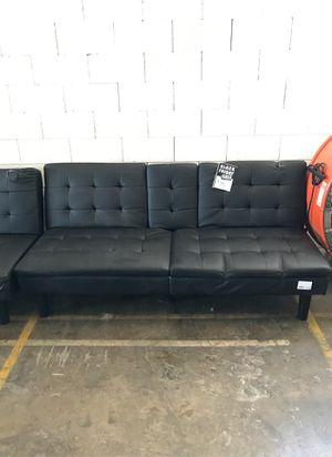 Black Leather Futon (some damage) ‼️Black Friday Sale‼️ for Sale in Dallas, TX