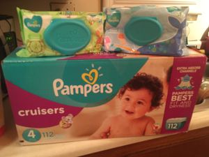 Pampers cruisers size 4 and 2 packs wipes for Sale in Bellflower, CA