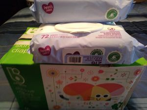 Organic diapers and Baby 3 baby wipes for Sale in Indianapolis, IN