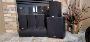 Paradigm Atom surround sound system and a Yamaha RX Dolby Digital reciever for Sale in Bakersfield, CA