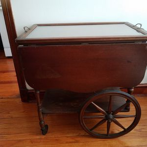 Antique Tea Cart With Glass Serving Tray for Sale in Washington, DC
