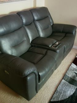 Leather Dark Grey Love Seat for Sale in South San Francisco,  CA