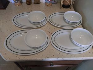 Pyrex Restaurant Style Striped Plate and Bowl Set for Sale in Warren, MI