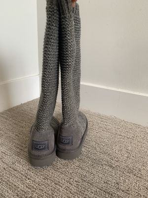UGG Australia Classic Cardy Gray Knit Sweater Boot Women's Size 6 for Sale in Kansas City, MO