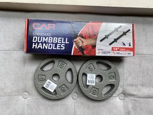 "CAP Standard Dumbbell Handles 14"" Threaded 4 Lock Collar 1 SET 2x 5lb Plates for Sale in Bellevue, WA"