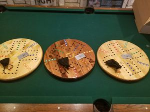 Hand made wahoo lazy Susan epoxy finish magnetic game boards for Sale in Abilene, TX