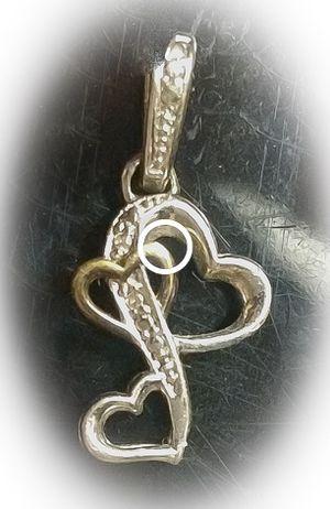 Sterling Silver diamond chip triple heart pendant for Sale in Phoenix, AZ