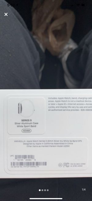 Apple Watch Series 5 Silver Aluminum Case with White Sport Band for Sale in Wilmington, DE